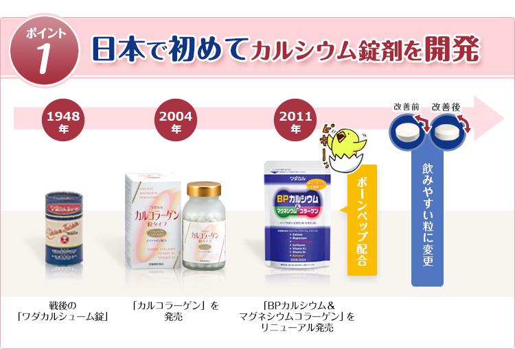 ポイント1 日本で初めてカルシウム錠剤を開発